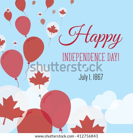 Independence Day Flat Greeting Card. Canada Independence Day. Canadian Flag Balloons Patriotic Poster. Happy National Day Vector Illustration. - stock vector