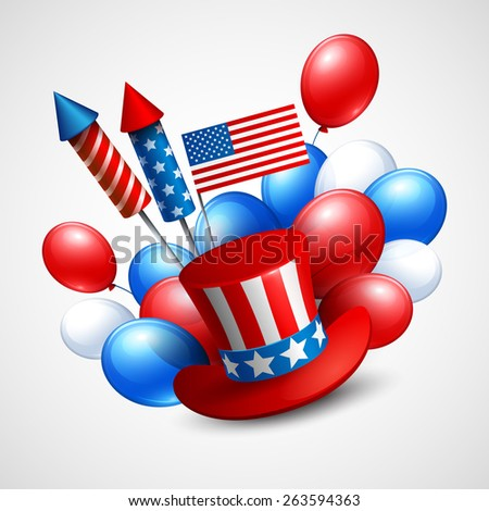 Independence Day holiday symbols. Balloon, flag,  president hat and fireworks rocket. Vector illustration EPS 10 - stock vector