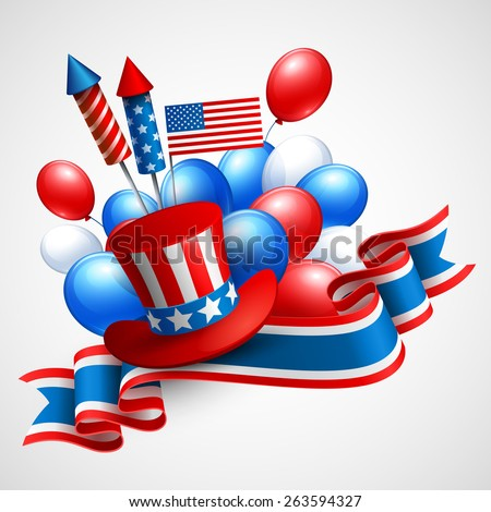 Independence Day holiday symbols. Balloon, flag, ribbon, president hat and fireworks rocket. Vector illustration  - stock vector