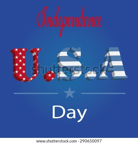 independence day illustration over blue color background - stock vector