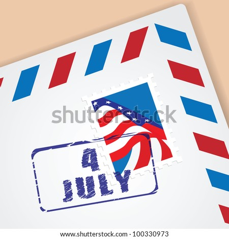 Independence Day - 4 of July. Vector mailing envelope with postage stamp. - stock vector