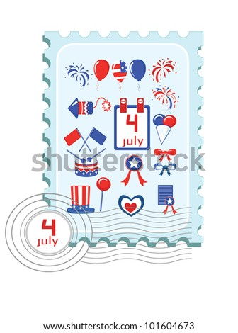 Independence Day . Postage stamp with icons. - stock vector