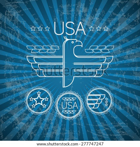 Independence day poster with lineart symbol, retro vintage vector - stock vector