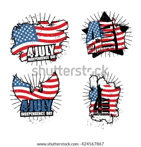 Independence Day set sign in grunge style. Star and Eagle. USA Flag and brush stroke. Logo for national holiday in United States. Patriot emblem to celebrate July 4th - stock vector
