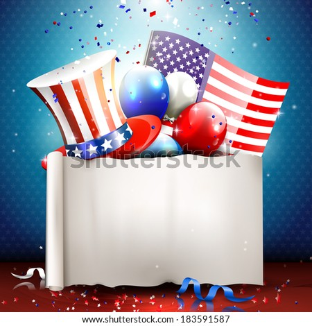 Independence day - vector background with empty paper  - stock vector