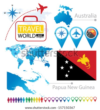 Independent State of Papua New Guinea. Australia. flag. World Map. Travel vector Illustration. - stock vector