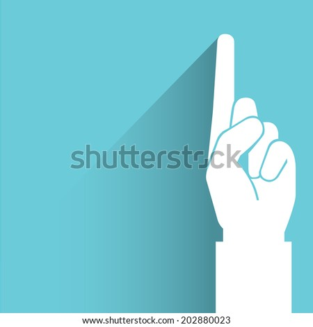 index finger, hand pointing, blue shadow and flat theme - stock vector