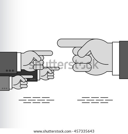 Index fingers show the directions; Group of arrow signs from the pointing hands with forefingers in the sleeves of business suits; Vector Eps8 - stock vector