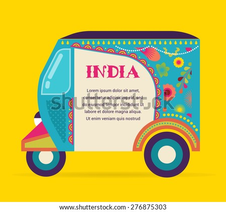 India - background with patterned colorful rickshaw - stock vector