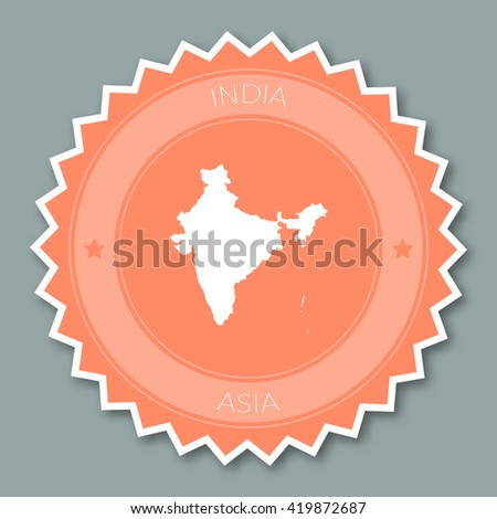 India badge flat design. Round flat style sticker of trendy colors with country map and name. Country badge vector illustration. - stock vector