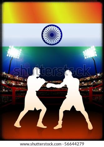 India Boxing on Stadium Background Original Illustration - stock vector