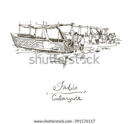 India Calangute Beach sketch drawing with two boats ashore, retro style travel poster postcard template with hand lettering inscription, vector illustration - stock vector