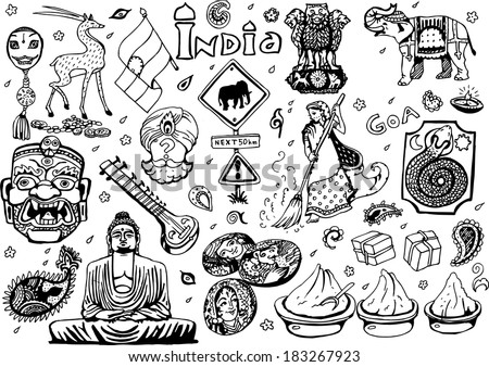 India Collection  Black&White 2 (EPS10 Vector doodles) - stock vector