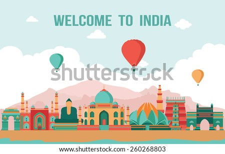 India colorful detailed skyline. Vector illustration - stock vector
