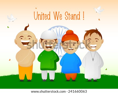 India, cute little kids from different religion showing Indian Unity and flying pigeons on national flag color background for Republic Day celebrations. - stock vector