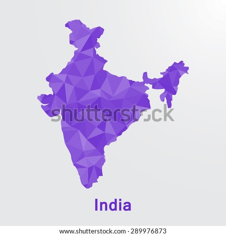 India flag map in geometric polygonal style.Abstract tessellation,background. Vector illustration EPS10 - stock vector