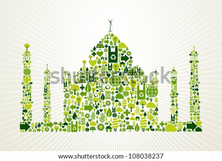 India go green. Eco friendly icon set in Taj Mahal shape illustration background. Vector file layered for easy manipulation and custom coloring. - stock vector