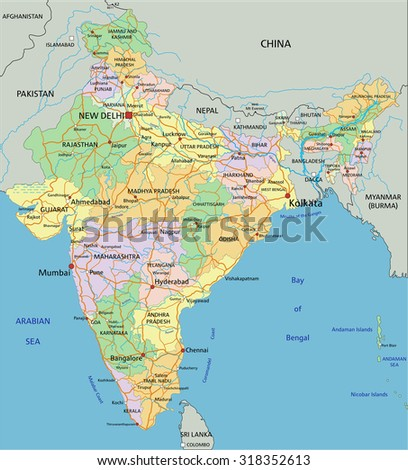 India - Highly detailed editable political map with labeling. - stock vector