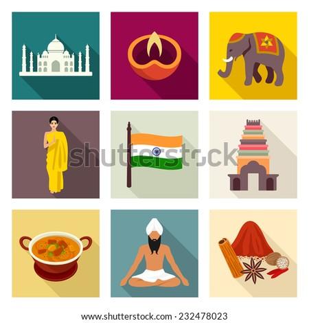 India icon set - stock vector