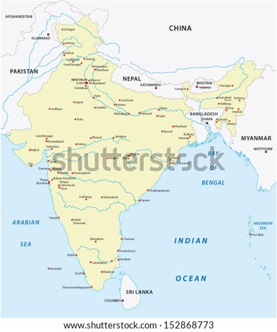 india map - stock vector
