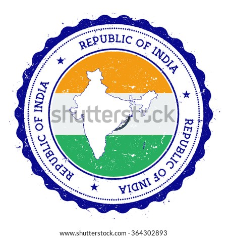 India map and flag in vintage rubber stamp of country colours. Grungy travel stamp with map and flag of India, vector illustration - stock vector
