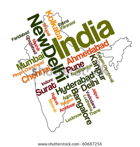 India map and words cloud with larger cities - stock vector