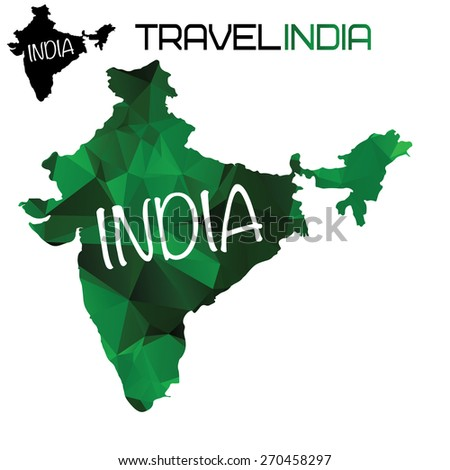 India map with polygonal style - stock vector