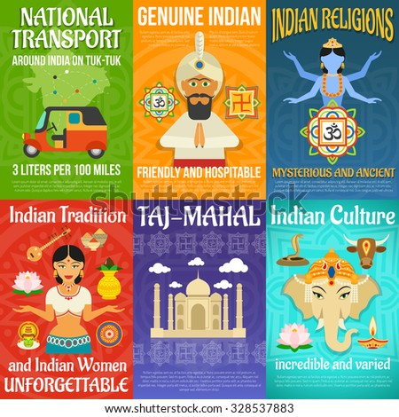 India poster mini set with national transport religions and culture isolated vector illustration - stock vector