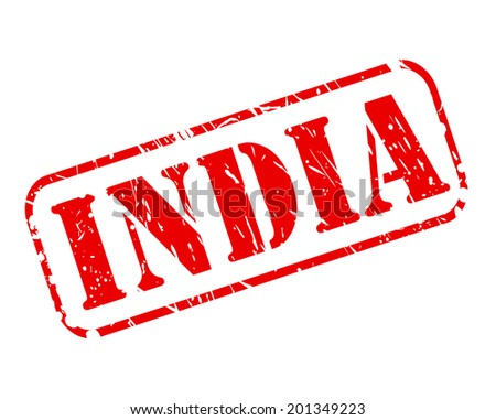 INDIA red stamp text on white - stock vector