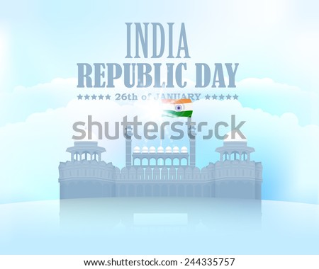 India Republic Day 26 January Celebration Card, Background, Badges Vector Template  - stock vector