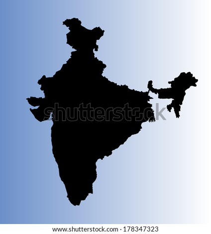 India vector map, high detailed illustration, isolated on blue background. - stock vector