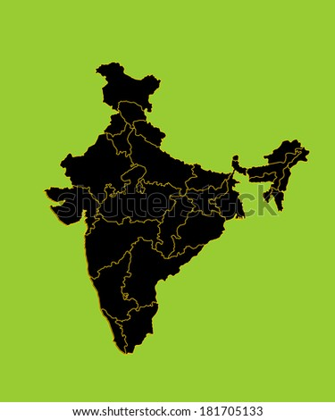 India vector map with lines separated countries, high detailed illustration, isolated on green background.  - stock vector
