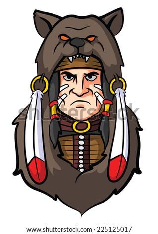 Indian Apache Mascot - stock vector