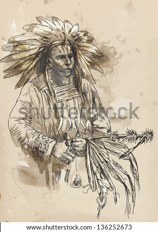 Indian chief holding a peace pipe. /// A hand drawn illustration converted into vector. Vector is editable in 4 layers. - stock vector