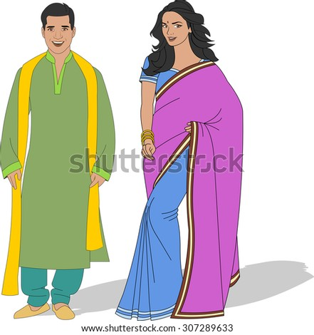 Indian couple wearing traditional clothes - stock vector