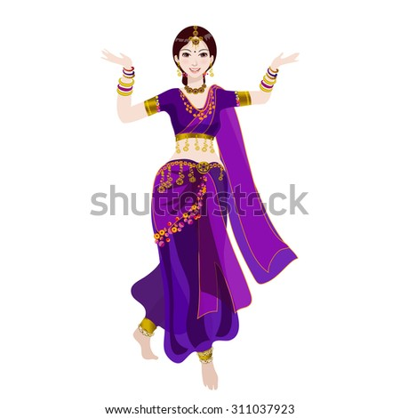 Indian dancer dressed in violet, takes the national dance.Young Indian girl. Her arms adorned with bracelets. - stock vector