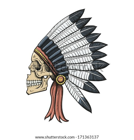 Indian Dead Man. Conceptual Vector Illustration Isolated on White. - stock vector