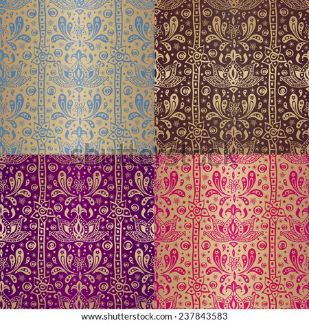 Indian ethnic arabian oriental seamless pattern set with gold elements. Vector  - stock vector