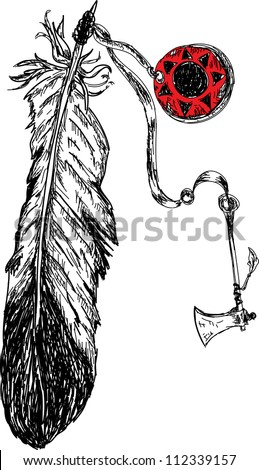 indian feather with tomahawk weapon - stock vector