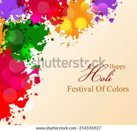 Indian festival Happy Holi celebrations colourful background. - stock vector