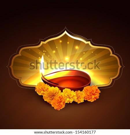 indian festival of diwali design - stock vector