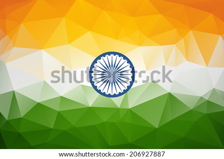 Indian Flag in geometric style. Vector illustration concept Indian Independence Day celebrations. - stock vector