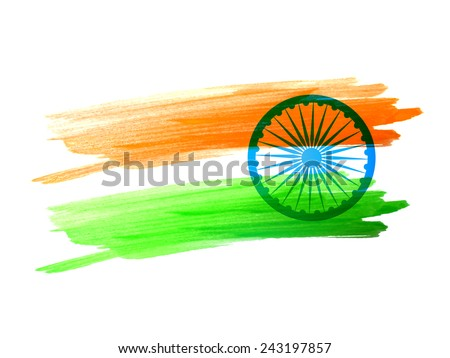 Indian flag made with color strokes vector design - stock vector