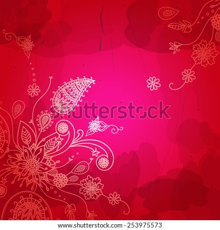 Indian flower pattern. Vivid colour background. Vector illustration. - stock vector