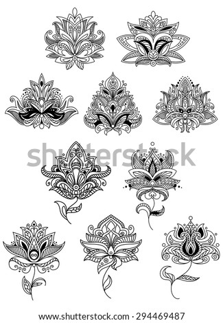 Indian flowers in ethno style with intricate curved petals adorned paisley ornamental elements for lace embellishment or romantic decoration design - stock vector