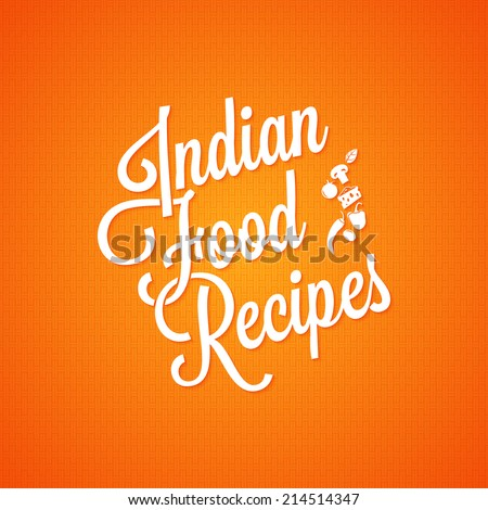 indian food vintage lettering background - stock vector
