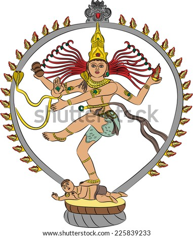 Indian goddess Kali dancing isolated on white background - stock vector