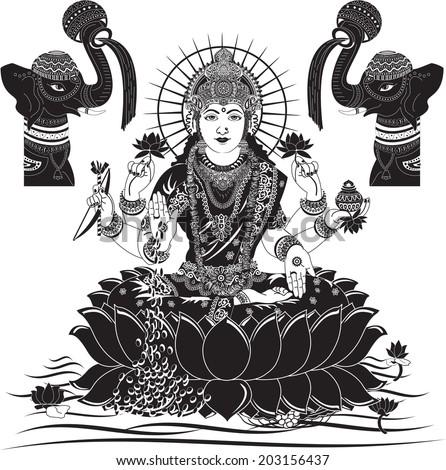 Indian Goddess Lakshmi vector illustration - stock vector