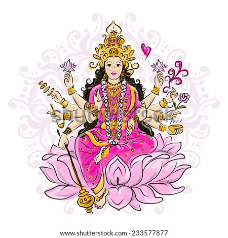 Indian goddess Shakti, sketch for your design - stock vector