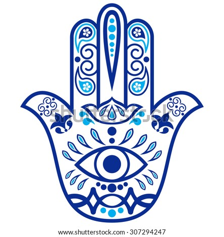 Indian hand drawn hamsa with  ornaments - stock vector